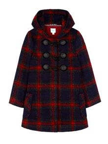 Yumi Girls Check Hood Duffle Coat
