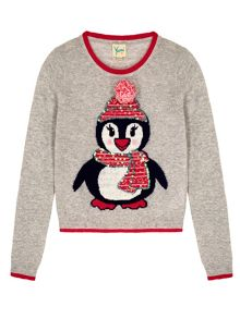 Girls Penguin Print Pom Pom Jumper