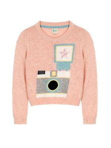 Yumi Girls Camera Print Jumper