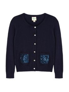 Yumi Girls Girls Sequin Pocket Cardigan