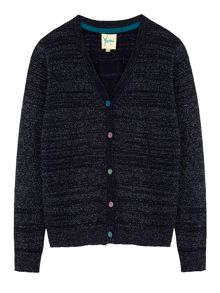 Girls Sequin Button Pointelle Cardigan
