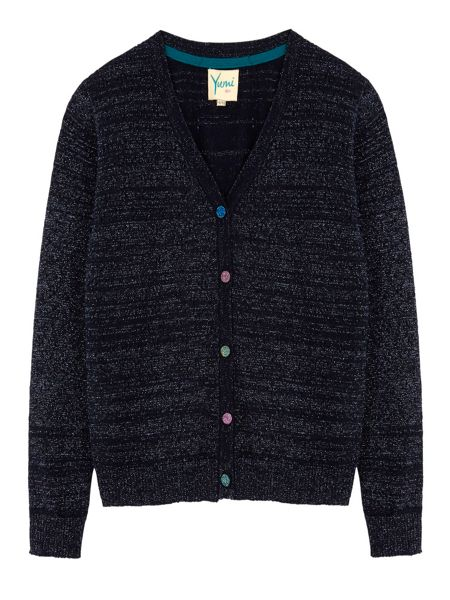 Yumi Girls Girls Sequin Button Pointelle Cardigan