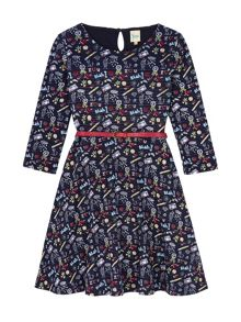 Yumi Girls Doodle Print Skater Dress