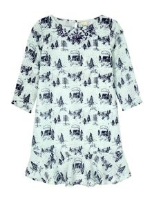 Yumi Girls Toile De Juoy Print Peplum Tunic Dress