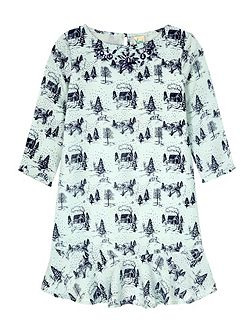 Toile De Juoy Print Peplum Tunic Dress