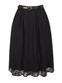 Uttam Boutique Pleated Lace Midi Skirt