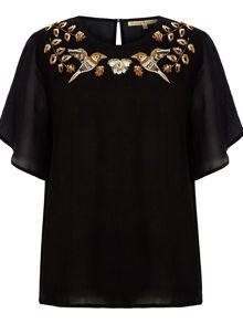 Embellished Bird Dressy Top
