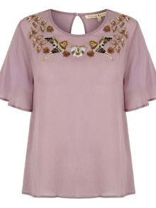 Uttam Boutique Embellished Bird Dressy Top