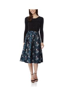 Midnight Floral Print Midi Skirt