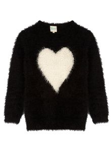Yumi Girls Girls Pearl Heart Print Jumper