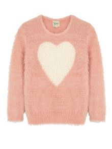 Yumi Girls Pearl Heart Print Jumper