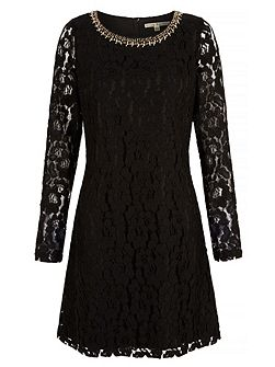 Lace Embellished Long Sleeve Shift Dress