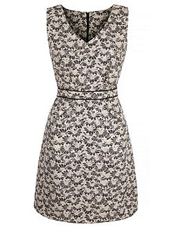 Metallic Daisy Jacquard Shift Dress