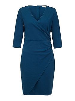 Ponte Notch Wrap Dress