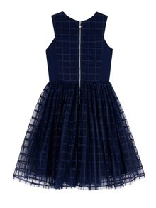 Girls Grid Check Embellished Dress