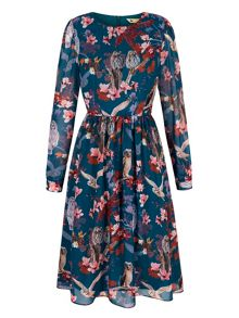 Yumi Owl and Flower Print Midi Dress