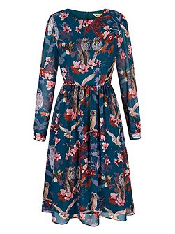 Owl and Flower Print Midi Dress