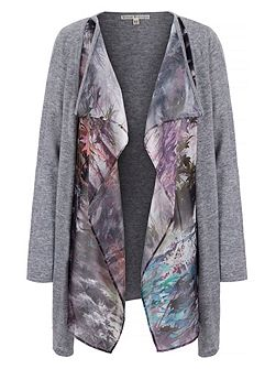 Maple Leaf Print Waterfall Cardigan