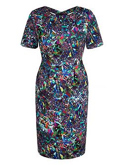 Crystal Print Fitted Scuba Dress