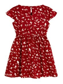 Yumi Girls Bird Print Dress