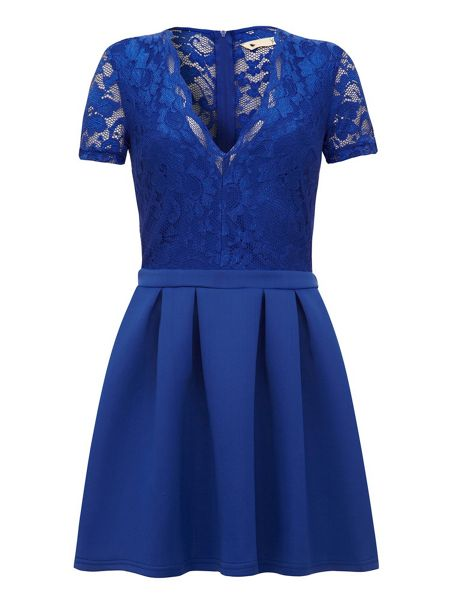 Yumi Lace Pleated Skater Dress