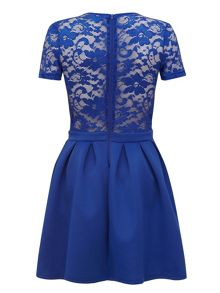 Lace Pleated Skater Dress
