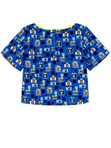 Yumi Girls Camera Print Boxy Top