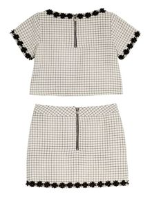 Girls Daisy Grid Check Top and Skirt Set