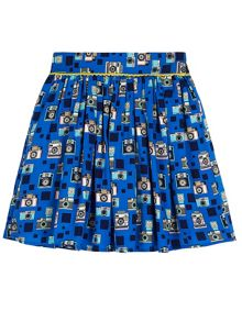 Yumi Girls Camera Print Skater Skirt