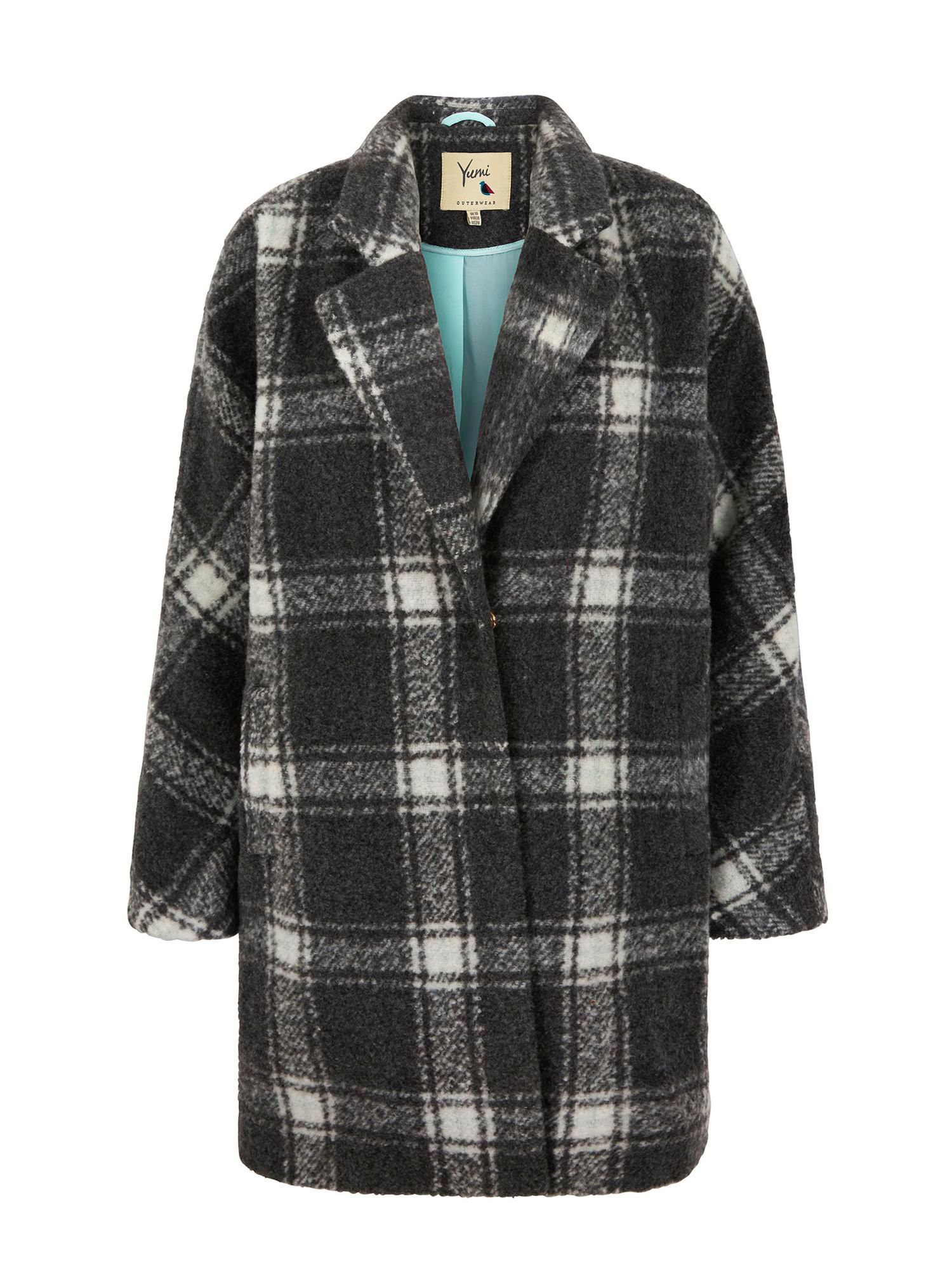 Yumi Oversized Check Coat, Grey