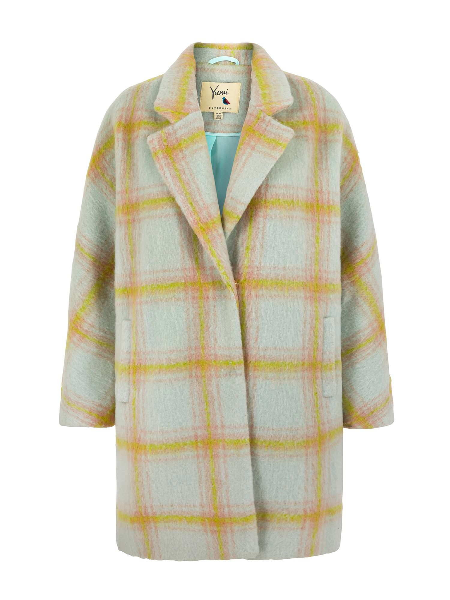 Yumi Oversized Check Coat, Multi-Pastel