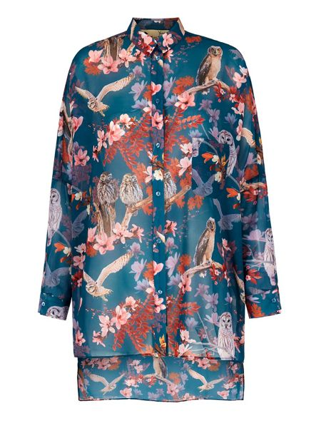 Yumi Owl and Flower Print Oversized Shirt
