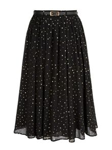 Yumi Gold Spot Pleated Midi Skirt