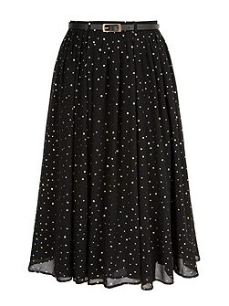 Gold Spot Pleated Midi Skirt