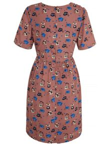 Yumi Telephone Print Tea Dress