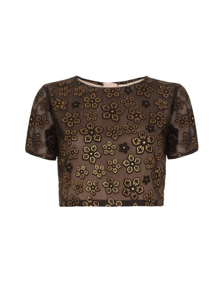 Yumi Gold Floral Print Crop Top