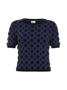 Yumi Polka Dot Cropped Jumper