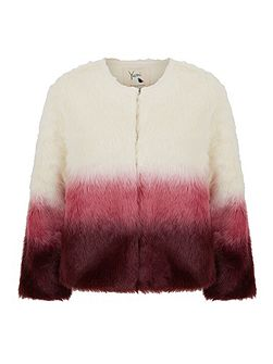 Dip-Dye Faux Fur Coat