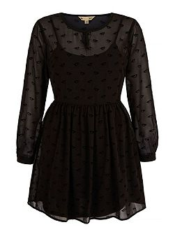 Flocked Yumi Bird Print Dress