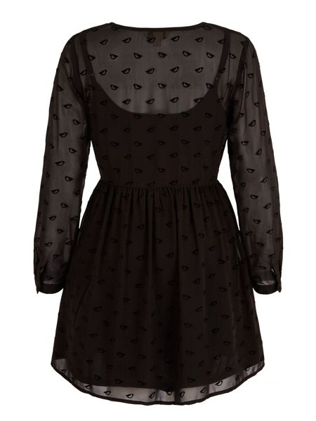 Yumi Flocked Yumi Bird Print Dress