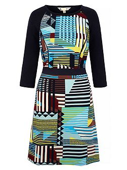 Contrast Stripe Knitted Dress