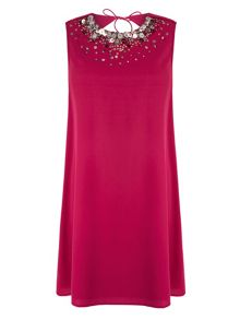 Embellished Cut Out Shift Dress