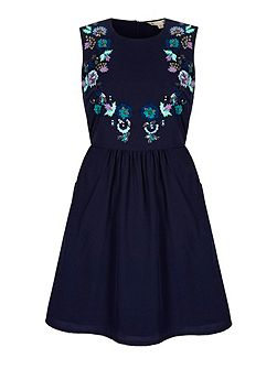 Embroidered Flower Day Dress