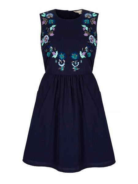 Yumi Embroidered Flower Day Dress