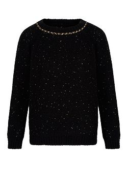 Chunky Knit Gold Chain Jumper