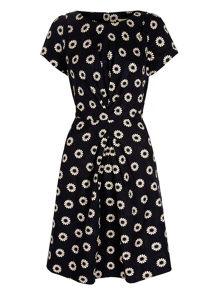 Yumi Daisy Print Ruched Fitted Dress
