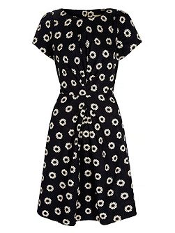 Daisy Print Ruched Fitted Dress
