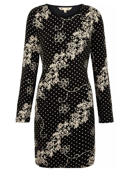 Yumi Polka Dot Floral Print Bodycon Dress
