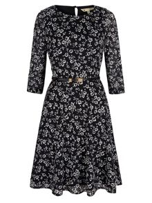 Yumi Monochrome Floral Long Sleeved Dress