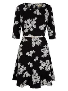 Monochrome Floral Long Sleeved Dress